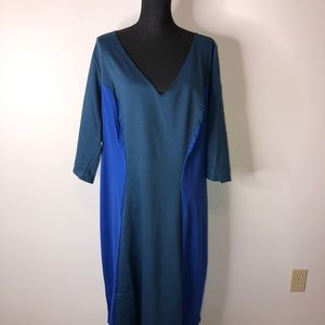 Eliza Parker Blue Short Sleeve V-Neck Sheath Dress
